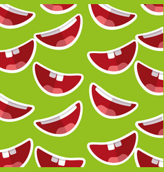 Happy mouth teeths funny fools day decoration vector