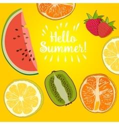 Hello Summer strawberry vector image