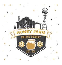 honey farm badge concept for shirt print vector image