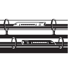 Hyperloop overground and underground trains vector
