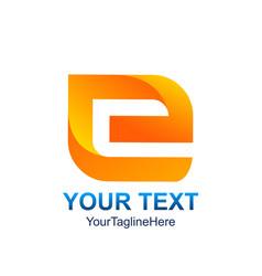 Initial letter e logo template colored orange vector