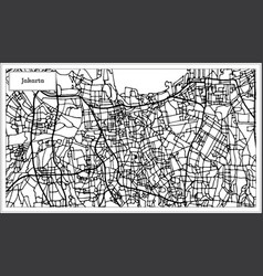 Jakarta indonesia city map in black and white vector