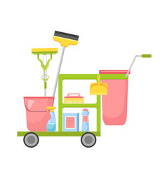Janitor cart with cleaning service equipment brush vector