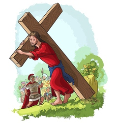 jesus christ carrying cross christian vector image