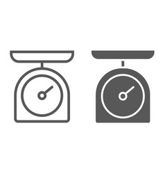 Kitchen scale line and glyph icon kitchen vector