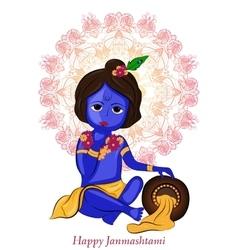 Little cartoon Lord Krishna with pot of butter vector