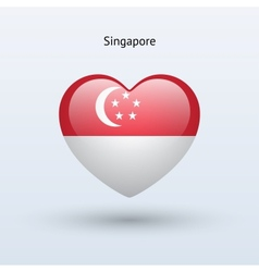 Love Singapore symbol Heart flag icon vector