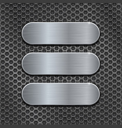 metal brushed plates on perforated background vector image