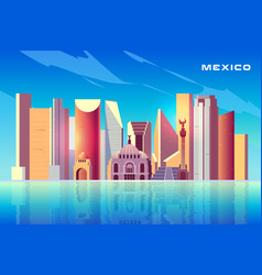 mexico city skyline cartoon background with vector image