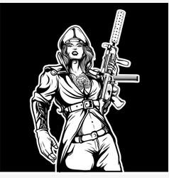 military girls holding gun vector image
