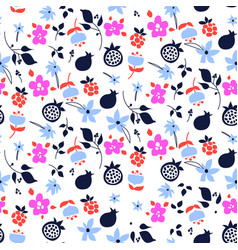 Millefleur flowers and fruits pink purple abstract vector