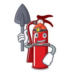 Miner fire extinguisher mascot cartoon vector