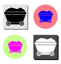mining cart flat icon vector image