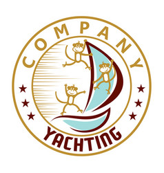 monkey and yacht logo vector image