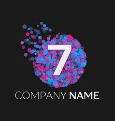number seven logo with blue purple particles vector image