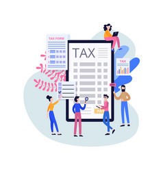 Online tax service poster - cartoon people vector