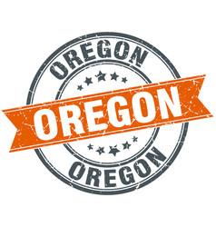 Oregon red round grunge vintage ribbon stamp vector