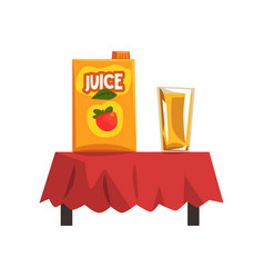 pack of apple juice and glass vector image