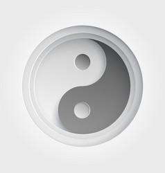 Paper art of ying yang vector