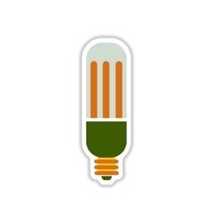 Paper sticker on white background eco light bulb vector