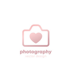 photography logo design with camera and heart vector image