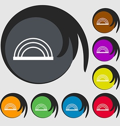 rainbow icon sign Symbols on eight colored buttons vector image