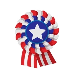 Ribbon rosette in the USA flag colors cartoon icon vector image