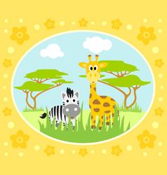 safari background card with zebra and giraffe vector image