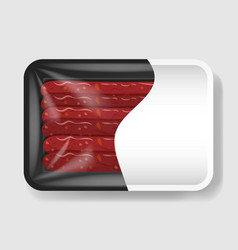 sausages in plastic tray container with cellophane vector image