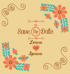 save the date romantic wedding greeting card vector image