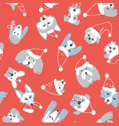 Seamless pattern with dogs on red background vector