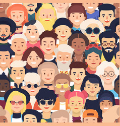 seamless pattern with faces or heads of joyful vector image