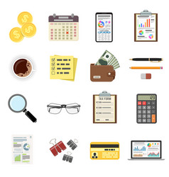 set auditing tax process accounting icons vector image