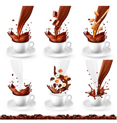 Set coffee and cappucino with different vector