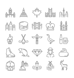 Set flat line icons ottawa vector