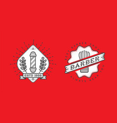 set of barber shop logo design vintage label vector image