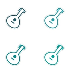 Set of stickers indian musical instrument on white vector