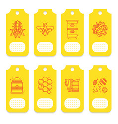 set of tags for beekeeping honey apiary vector image