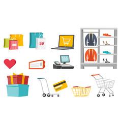 shopping cartoon set vector image