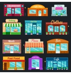 Shops and stores front icons set flat style vector