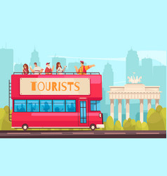 Sightseeing bus excursion composition vector