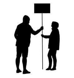 silhouette of man and woman holding banner on vector image
