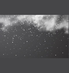 snow with snowflakes and clouds on transparent vector image