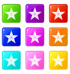 Star icons 9 set vector