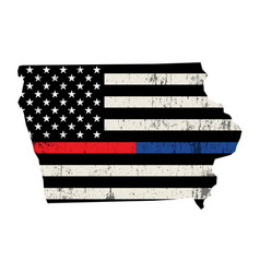 State iowa police and firefighter support flag vector