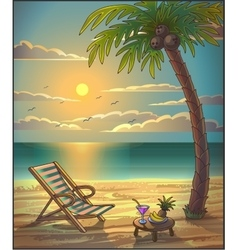 Summer relax leasure background Sunset on the vector image