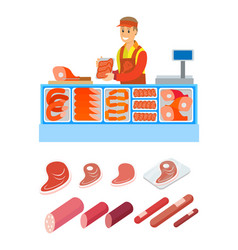 supermarket salesperson butcher department vector image