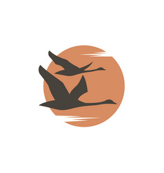 Swans and sun icon vector