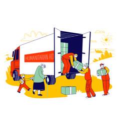 Team volunteers in humanitarian aid van giving vector