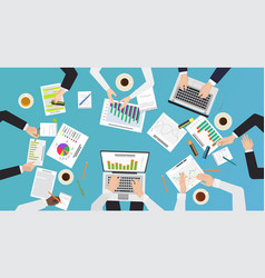 team work concept top office desk view vector image
